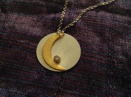 Gold Crescent Flat Moon Necklace w CZ Silver Disk & Chain by Zina Kao California image 1