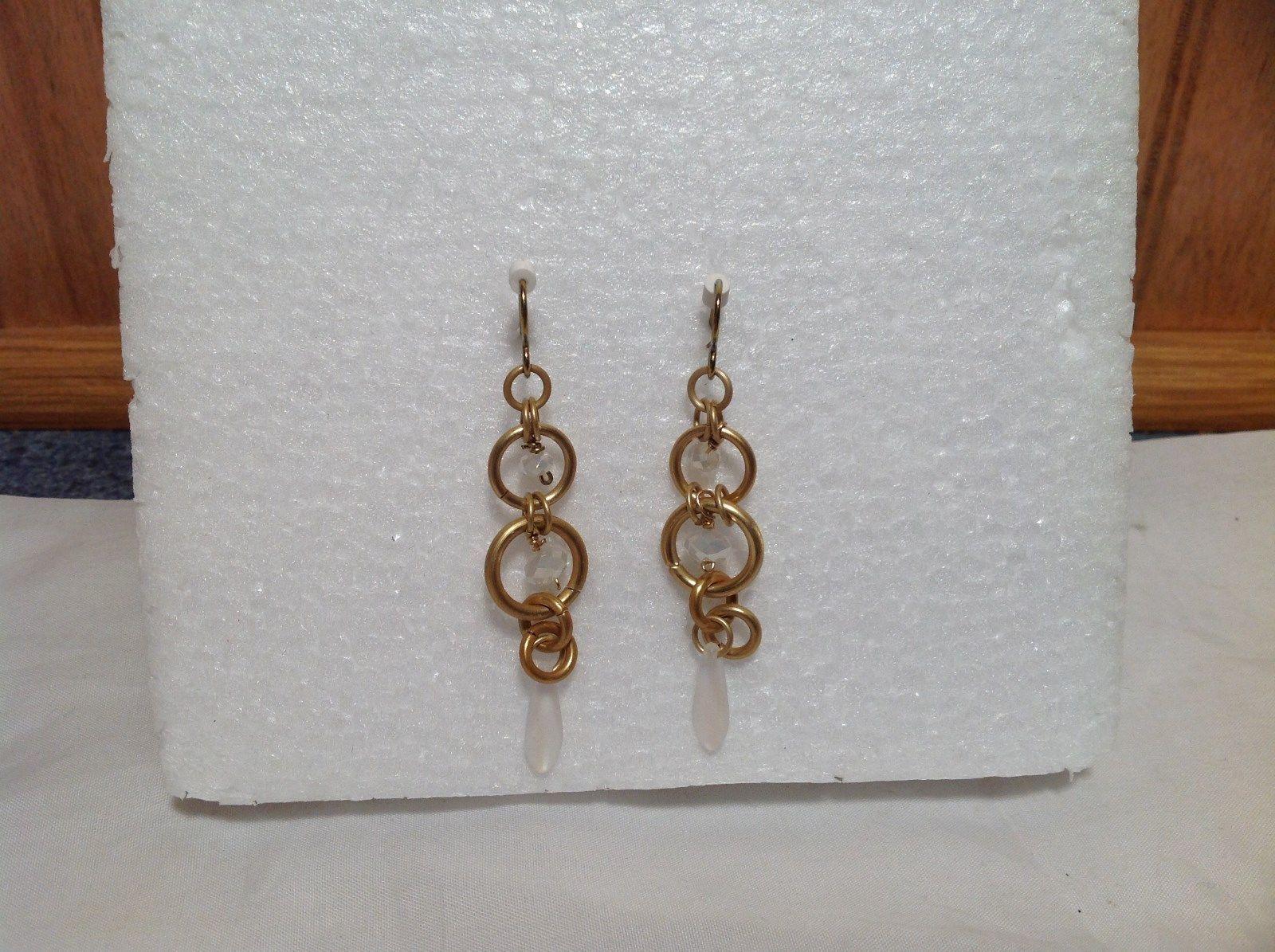 Gold Matted Tone Circle Design Aurora Stone Dangling Earrings Steam Punk Design