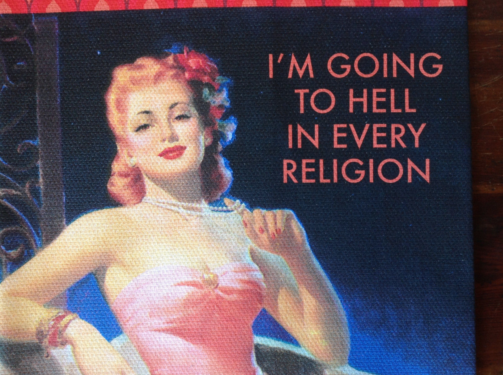 Going to Hell Women Pink Design Printed Dish Towel by Fiddlers Elbow