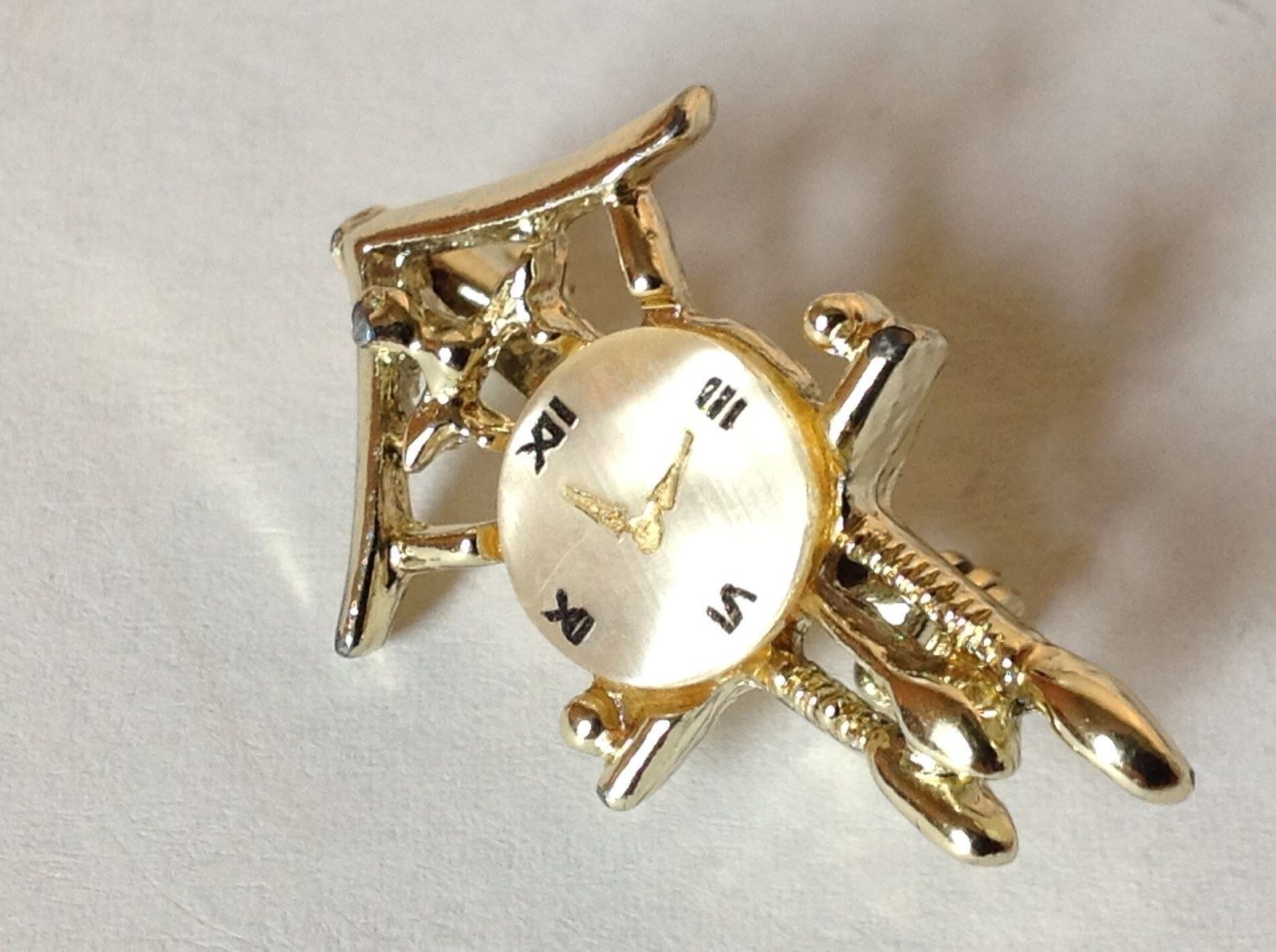 Gold Tone Wall Clock Pin with Small Round Stone for Face Hinge Clasp