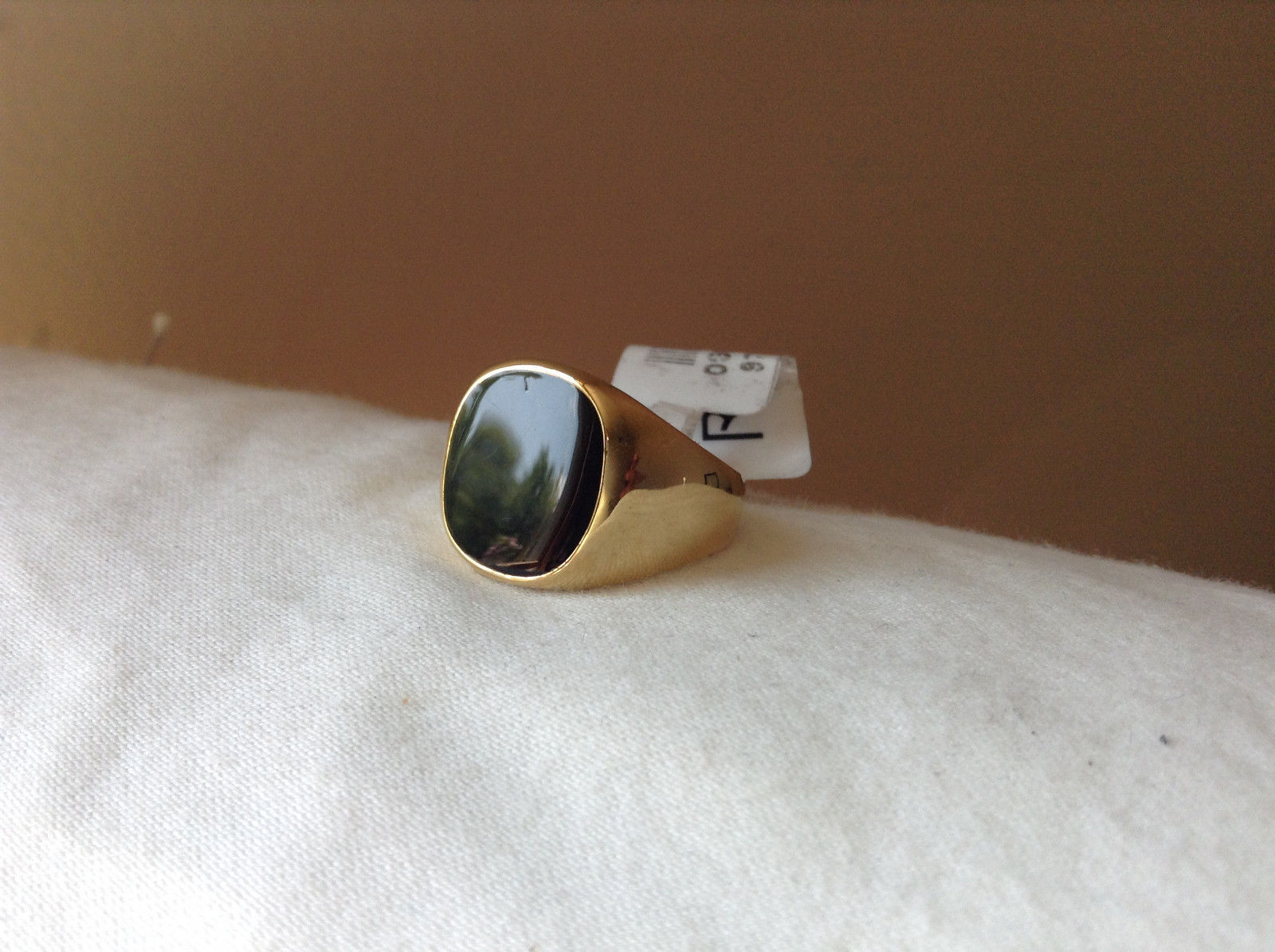 Gold Tone Square Black Stone Ring Size 8 and 10 Sold Separately
