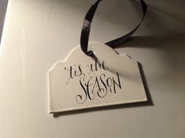 Enameled Christmas Metal Signs With Black Ribbon Hanger Ready to Hang Set of 3 image 3