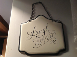 Enameled Home Decor Metal Signs With Black Chain Hanger Ready to Hang Set of 3 image 3
