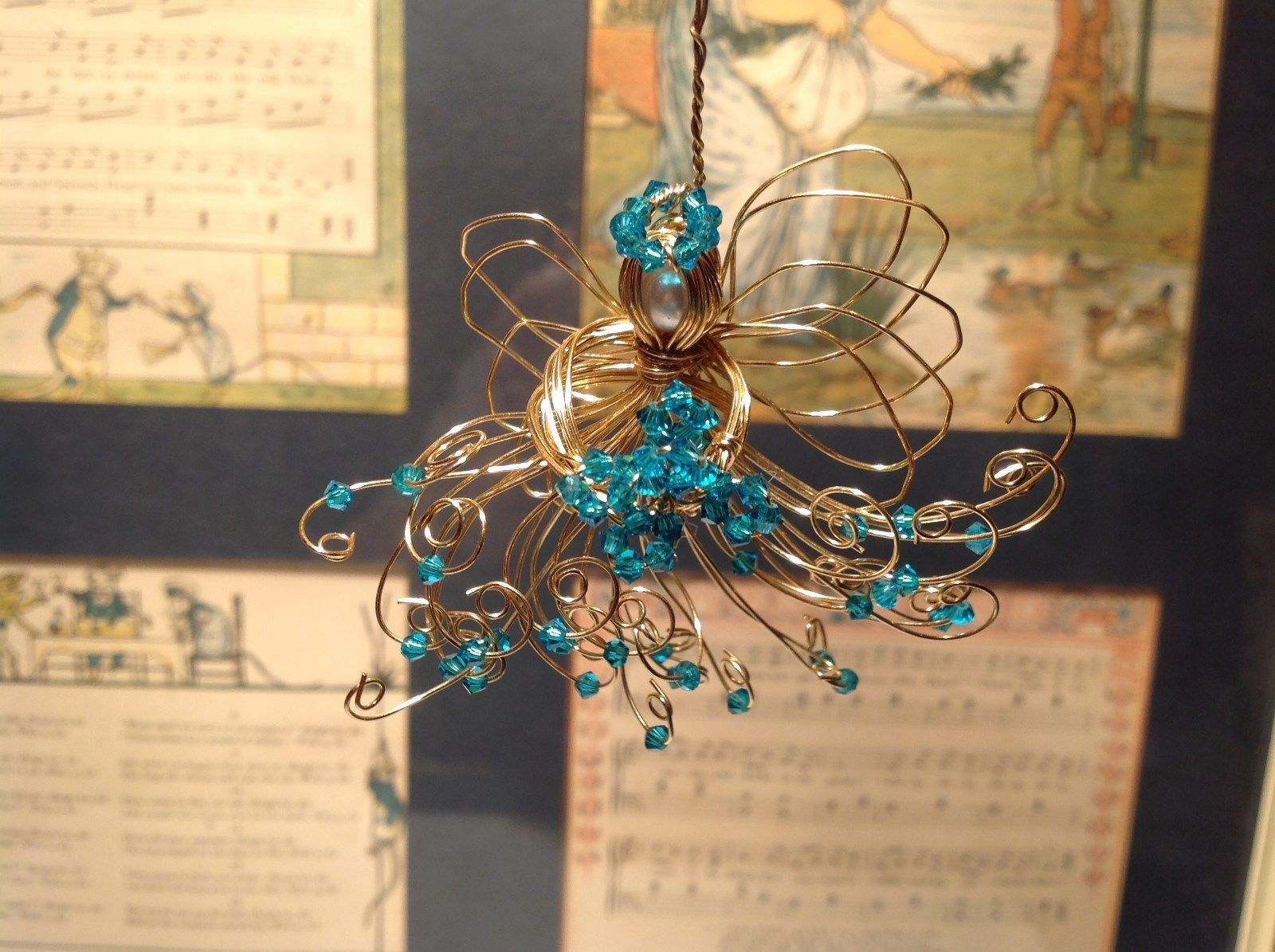 Gold Wire Angel Ornament with Light Blue Crystals and Faux Peal Real Gold