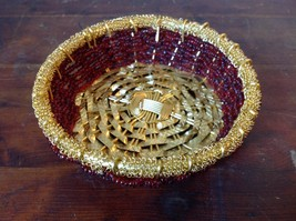 Gold and Dark Red Beaded Woven Metal Wire Bowl