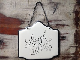 Enameled Metal Sign Laugh Often with Black Chain. Ready to Hang image 2