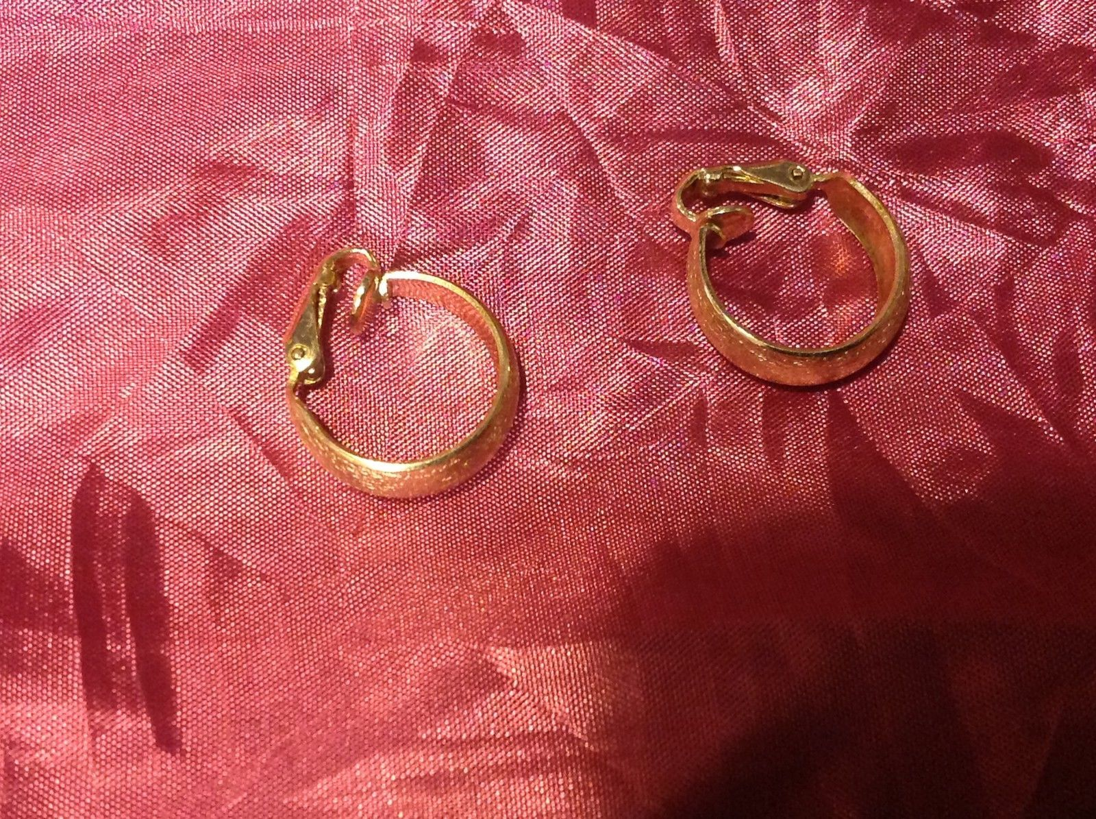 Gold color vintage clip on gold hoop earrings 1.5""