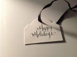 Enameled Sign Black Ribbon Hanger 3 holiday gift tag ornament Christmas image 2