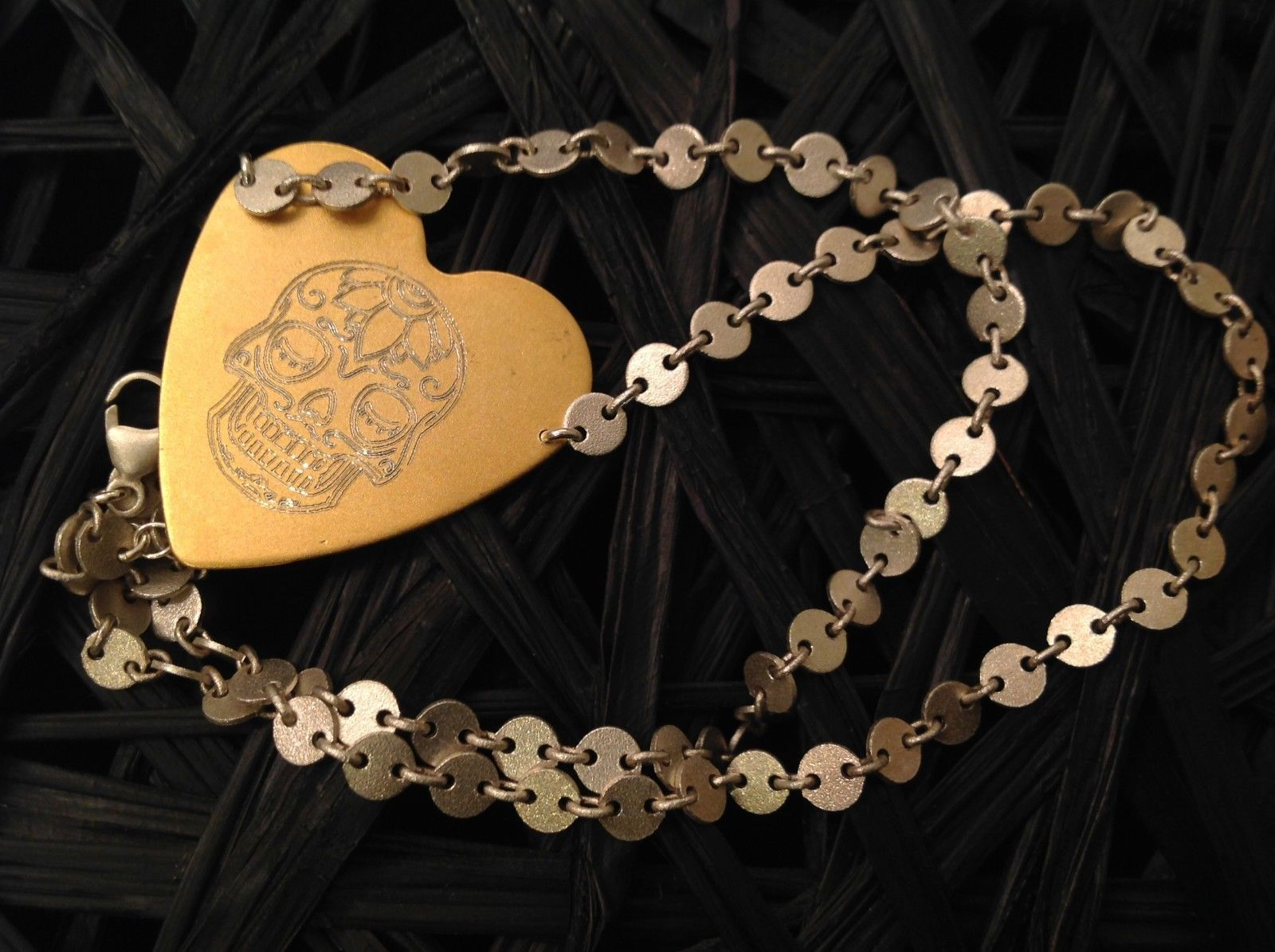 Gold engraved sugar skull heart hand made chain Necklace Zina Kao Day of Dead