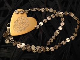 Gold engraved sugar skull heart hand made chain Necklace Zina Kao Day of Dead image 1
