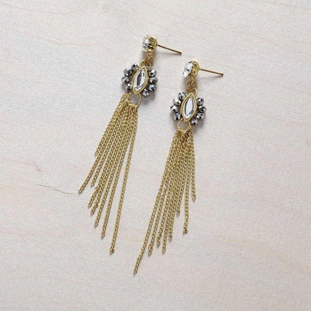 Gold  tone crystal post chain tassel earrings