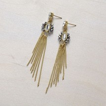 Gold  tone crystal post chain tassel earrings