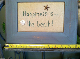"""Framed """"Happiness is...the Beach"""" Embroidered wall art image 6"""