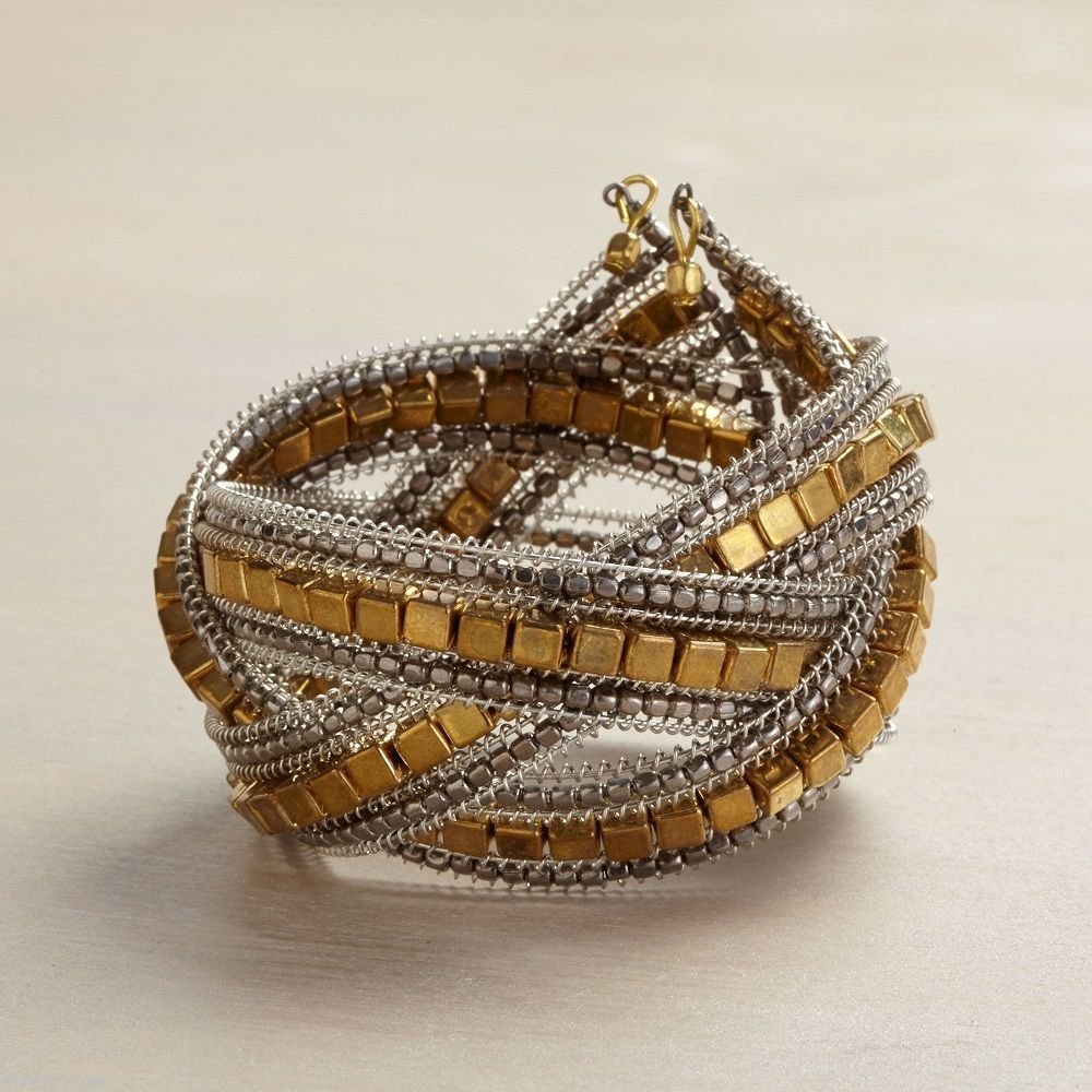 Gold square metallic bead wrap cuff intricate bracelet