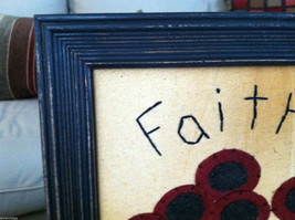"Framed Felt Potted Fuchsia Poppy Flower picture w/ ""Faith"" Embroidered image 2"