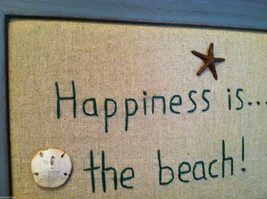 """Framed """"Happiness is...the Beach"""" Embroidered wall art image 2"""