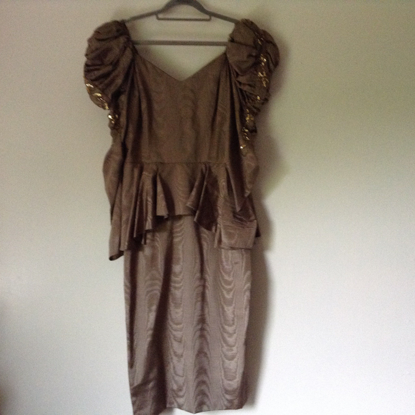 Golden Brown Vintage Dress Beautiful Gown by Chemisier Valerie Porr Size 12
