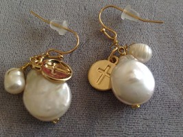 Gold w Pearl Christian Cross Faith dangle charm drop prayer earrings