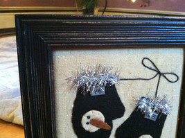 Framed Fabric Hand Stitched Picture of Black Mittens w Snowmen Christmas Decor image 2