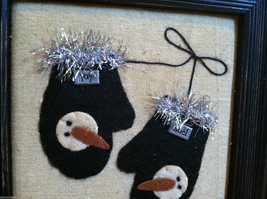 Framed Fabric Hand Stitched Picture of Black Mittens w Snowmen Christmas Decor image 3