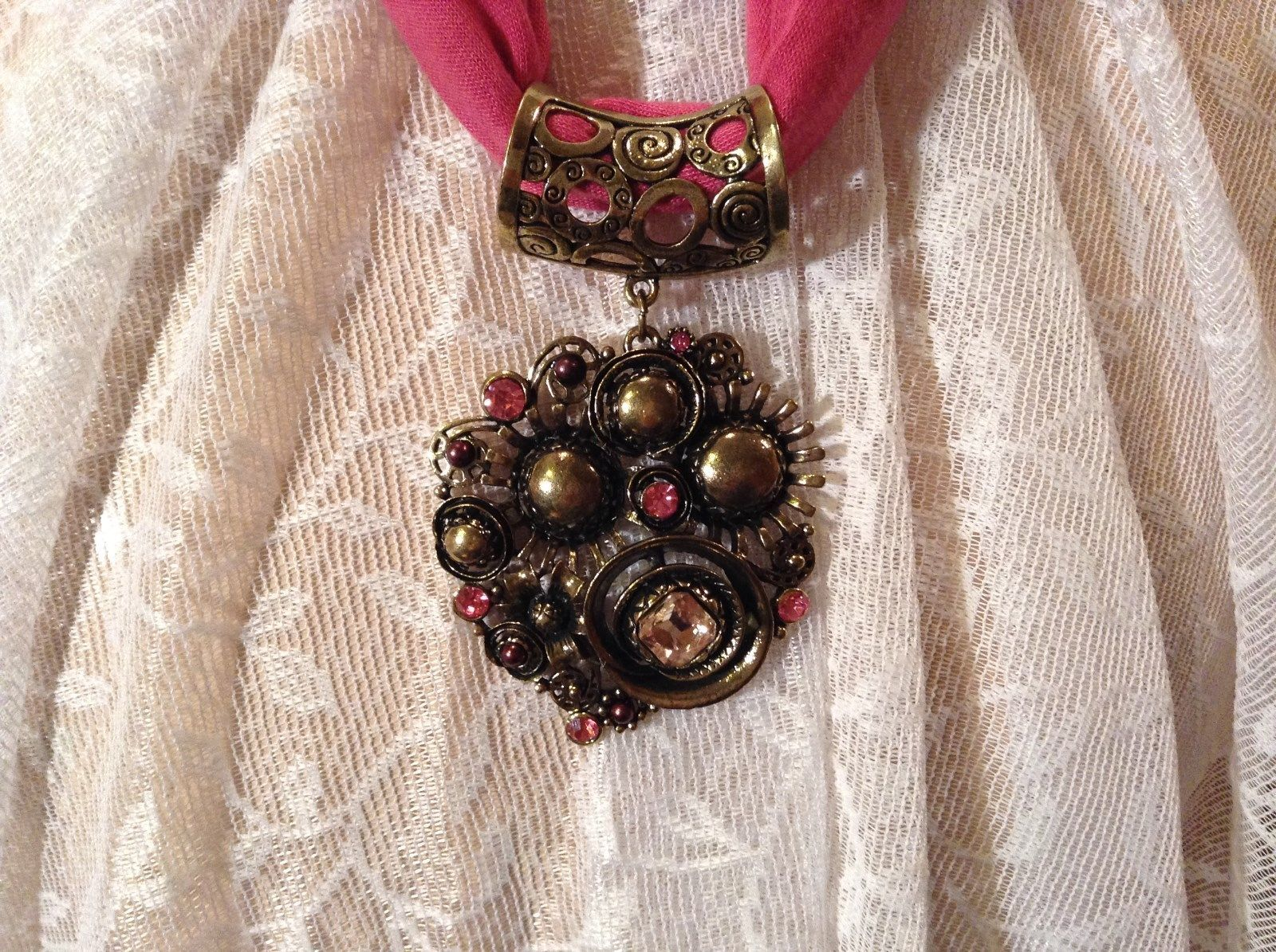 Gold Tone Large Pretty Flower Scarf Pendant Pink Crystals and Deep Red Beads
