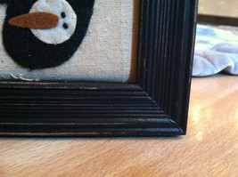 Framed Fabric Hand Stitched Picture of Black Mittens w Snowmen Christmas Decor image 5