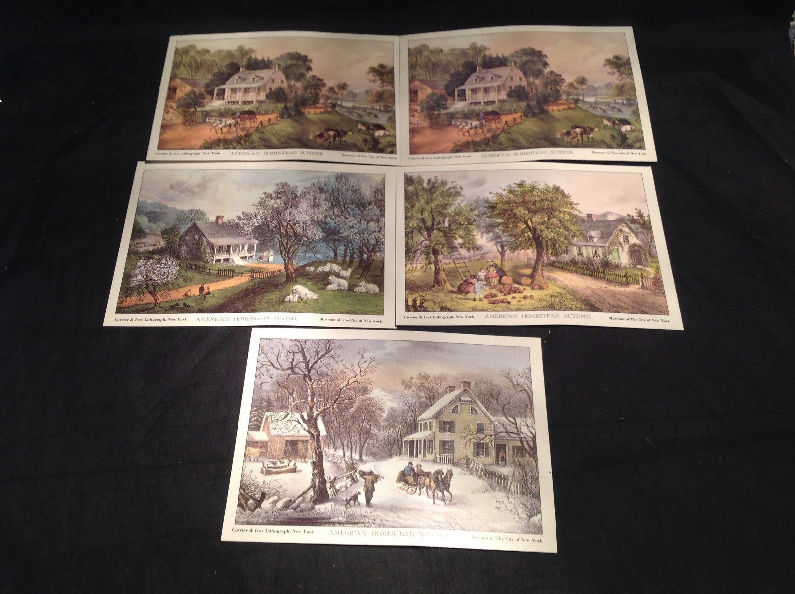 Five Lithographs Currier & Ives 19th Century Images