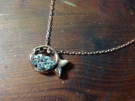 Fish Shaped 10K Gold Plated Necklace with Clear Austrian Crystals Adjustable  image 1
