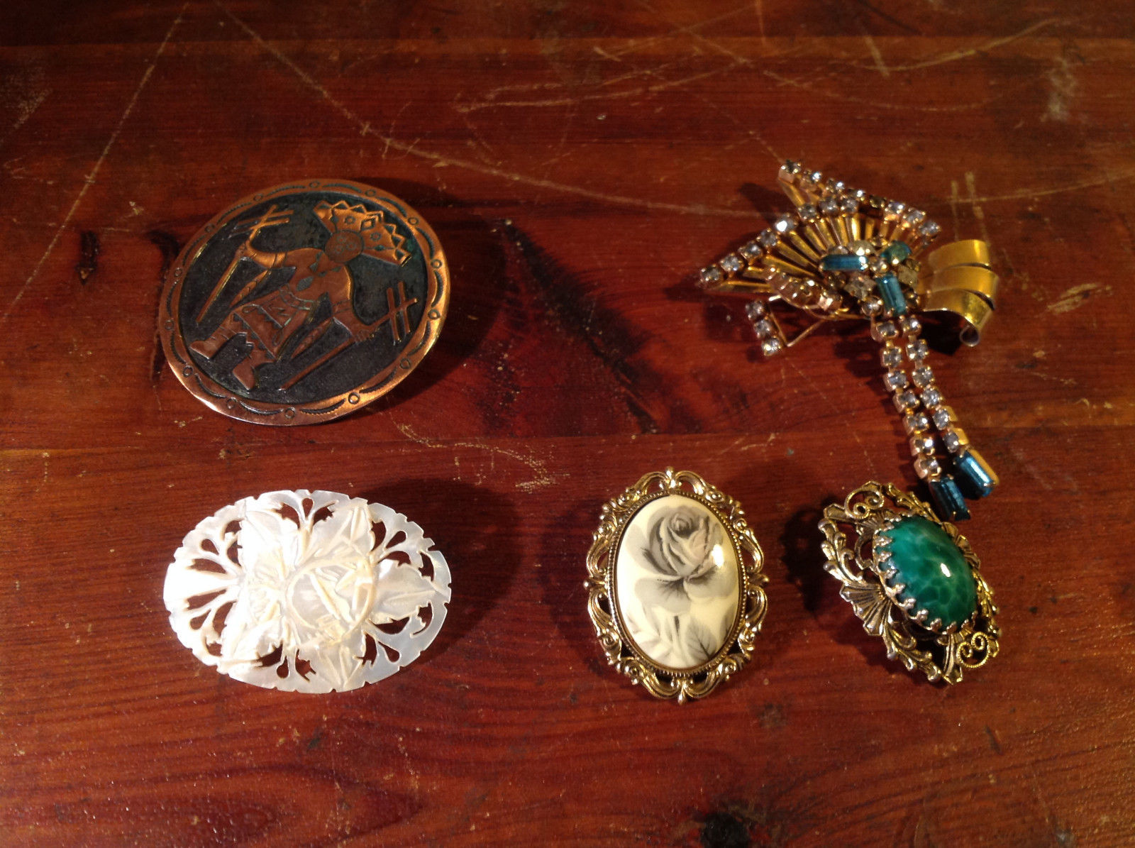 Five Lot of Brooches Green Stone Crystals Metal White Stone Blue Tribal