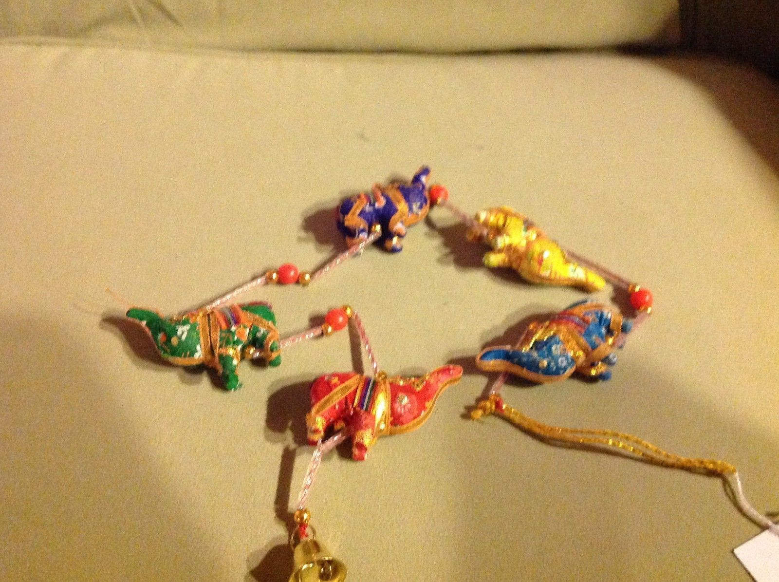 Five Baby Festival Elephants  Strand w Beads and Bell String Connector