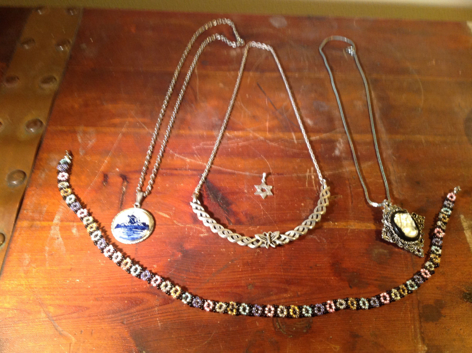 Five Piece Lot Four Necklaces One Pendant Silver Tone Beads