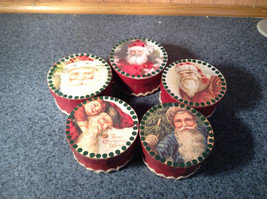 Five Piece Set Small Round Red Christmas Trinket Boxes