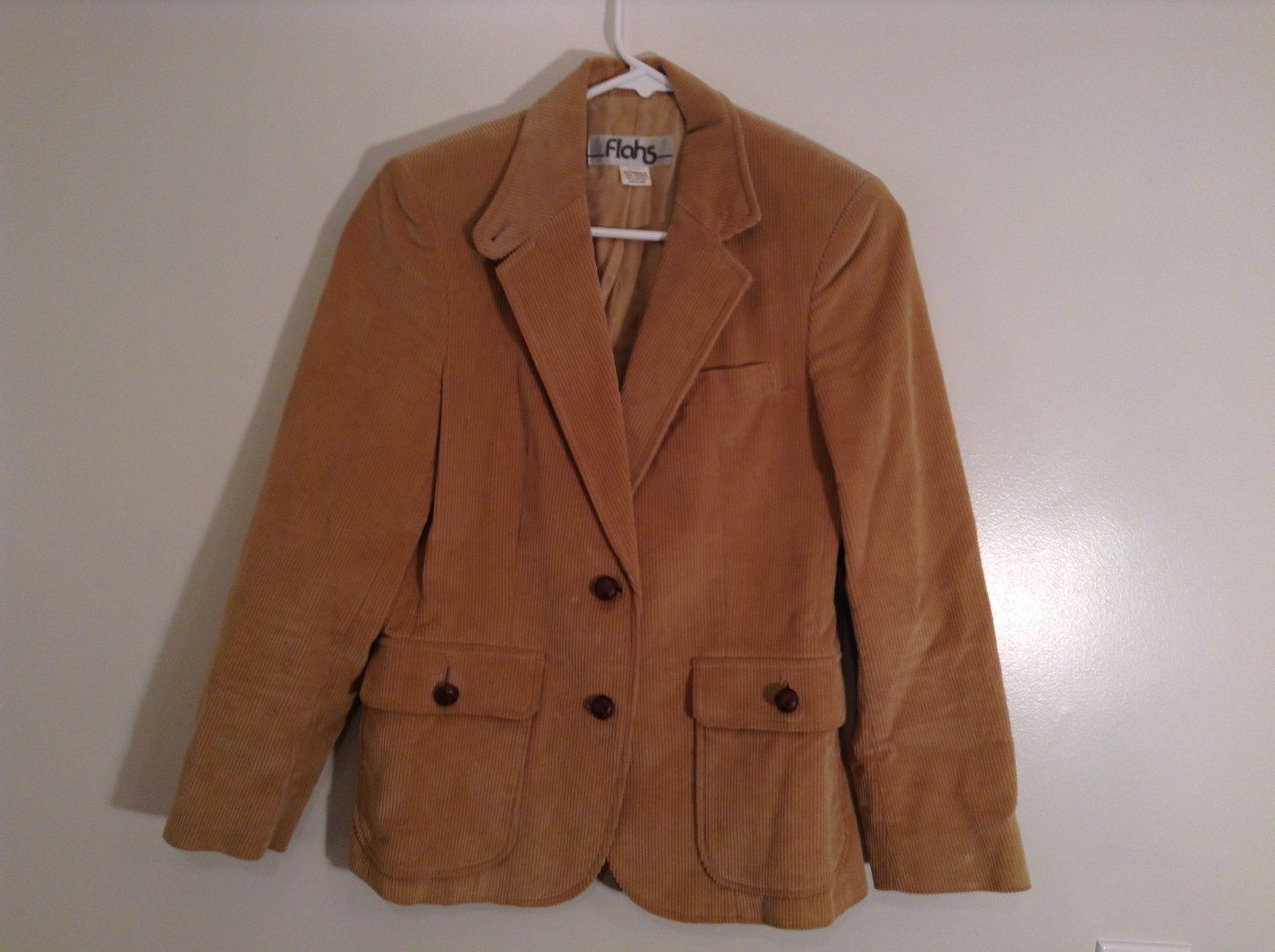 Flahs Brown Fully Lined Blazer 2 Wood Button Closure 2 Front Pockets Size 8