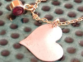 Flat Heart and Gem Necklace Silver with Gold Chain January Garnet Zina Kao image 1