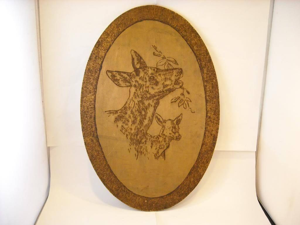 Flemish Folk Wood Burn Art Deer Mom Baby