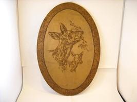 Flemish Folk Wood Burn Art Deer Mom Baby