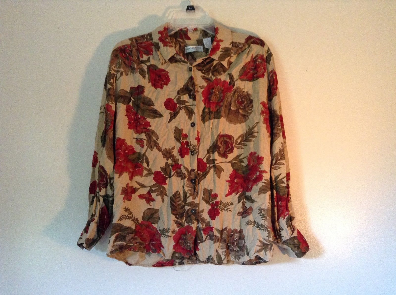 Floral Button Down Liz Claiborne Long Sleeve Shirt Brown Green Red Size 8
