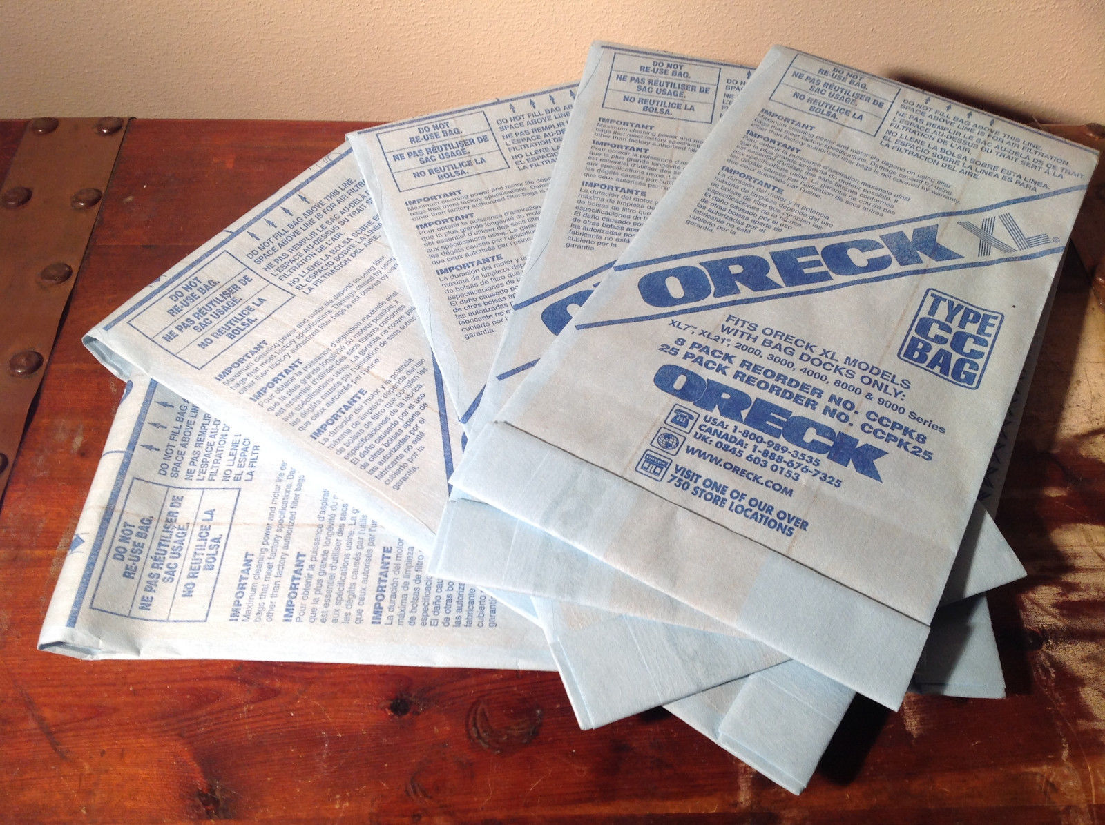 Five Piece Lot Genuine Oreck Type CC Filter Bag System Replacement Bags Size XL