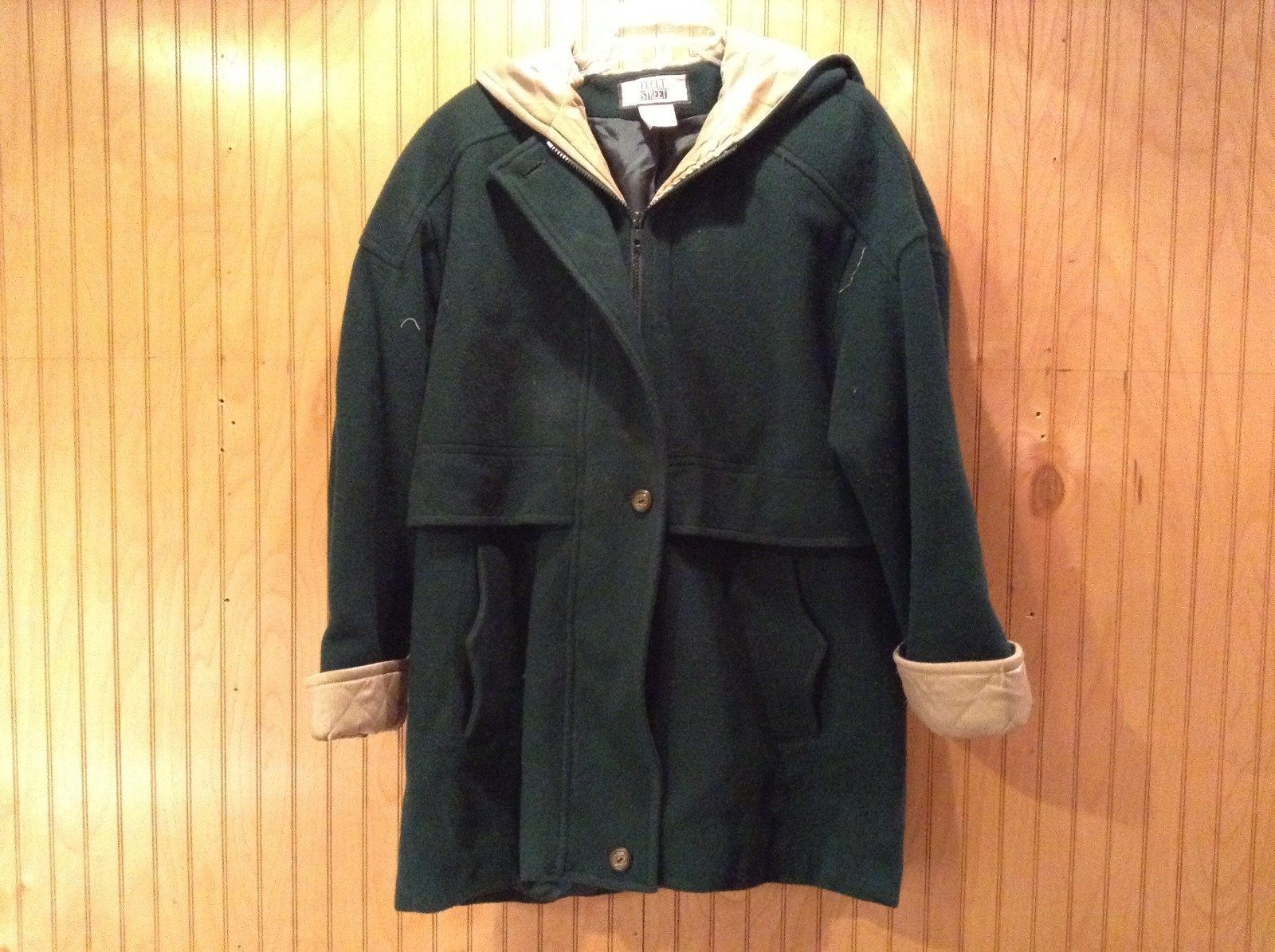 Fleet Street Green Hooded Wool Jacket Tan Brown Lining 2 Front Pockets Size 12