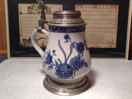 Floral Patterned Pewter Ceramic Stein Pitcher - $74.24