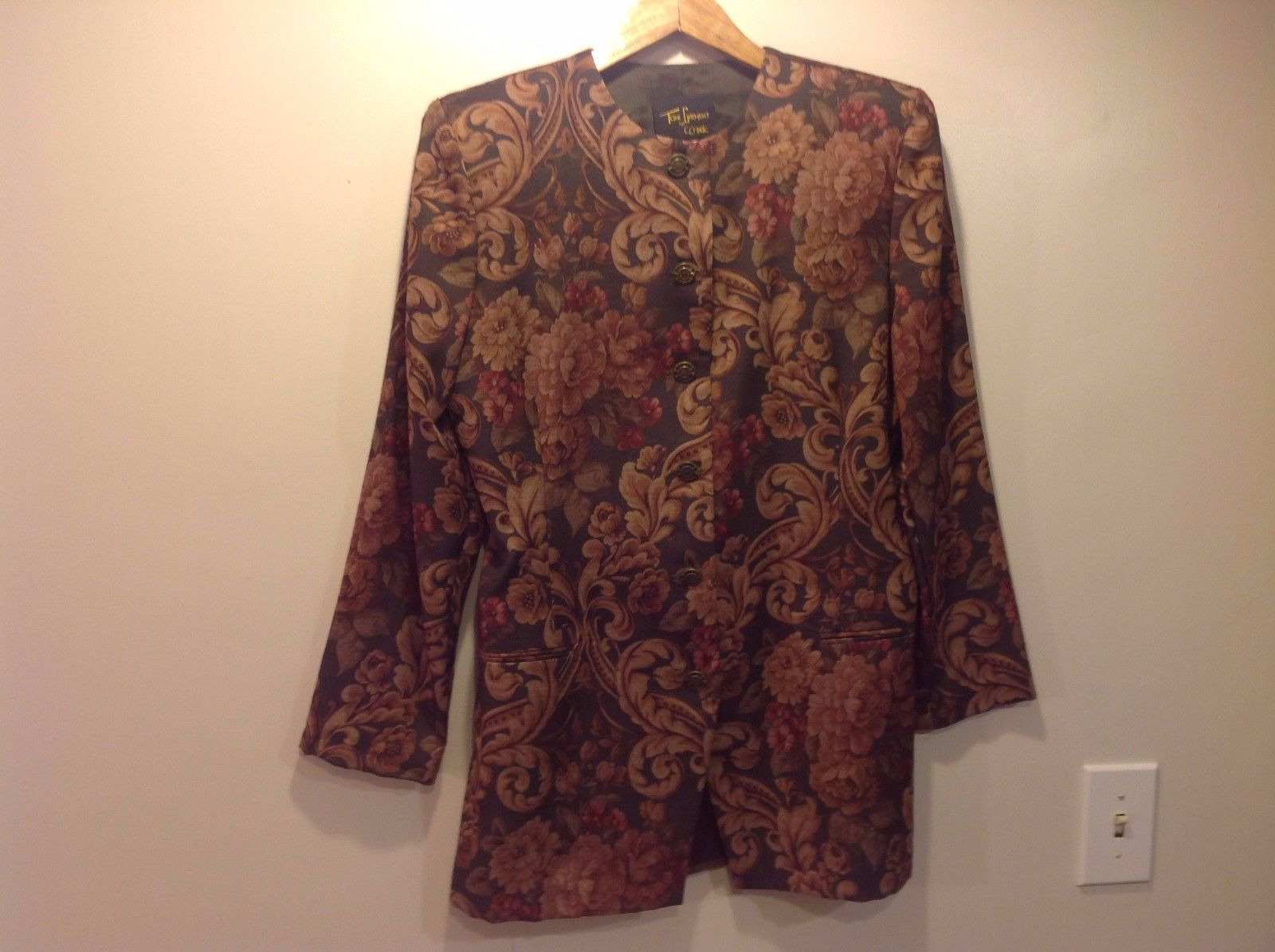 Floral Tapestry French Style Toni Garment Women's Jacket Button Up Size 6 USA
