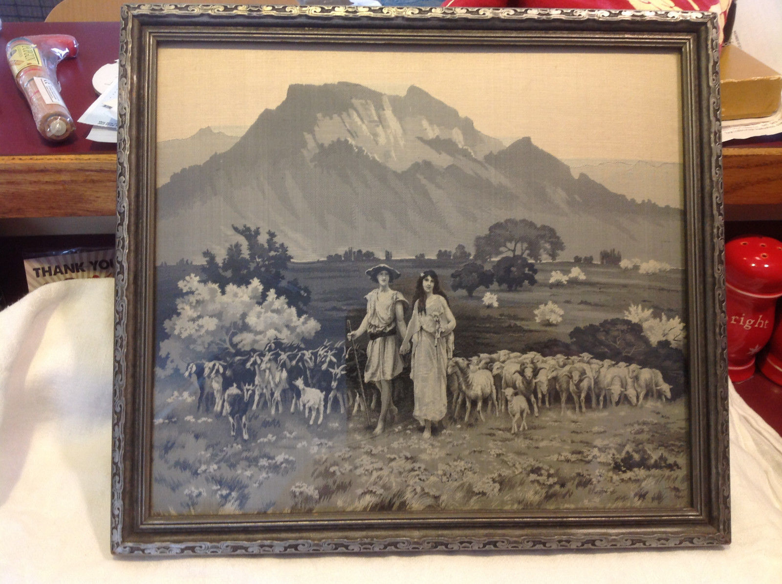 Gorgeous antique preserved alpine image mountains goats framed tapestry