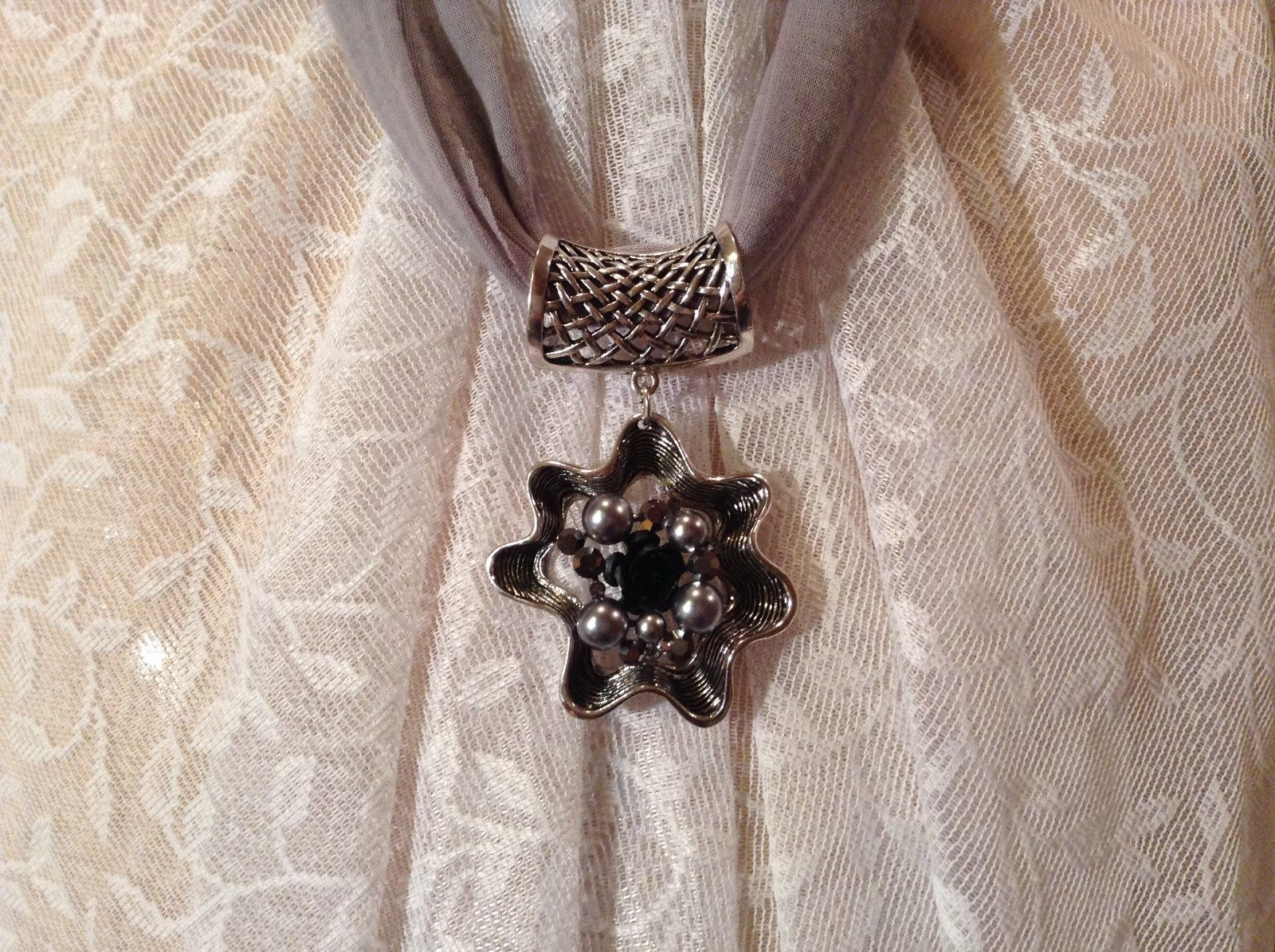 Flower Scarf Pendant with Small Black Rose in Center Silver Beads and Crystals