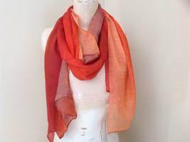 Gorgeous Red Orange Hue Shimmery Material Fashion Scarf