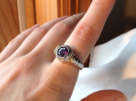 Gorgeous Purple CZ 18K Gold and Silver Tone Wavy Design Ring Sizes 6  7 or 8