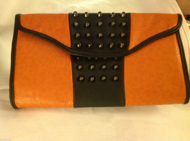 Gorgeous Ladies bright orange Studded Tyson clutch bag with carry strap