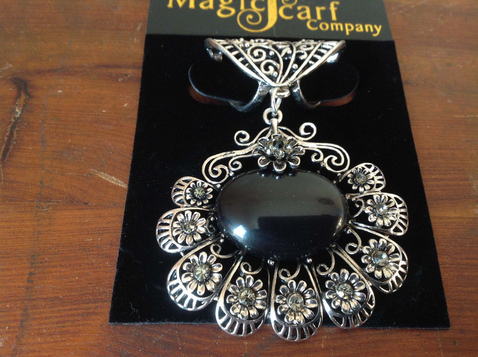 Flowers Crystals Large Black Stone Silver Tone Scarf Pendant by Magic Scarf