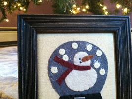 Fabric Stitching Picture - Snowman in Believe Snow Globe Christmas Decor image 2