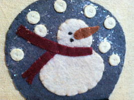Fabric Stitching Picture - Snowman in Believe Snow Globe Christmas Decor image 4