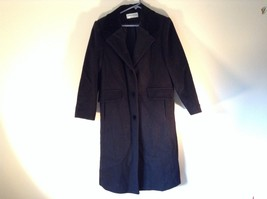 Forecaster of Boston Jet Black 100 Percent Wool Long  Coat Made in USA Size 8